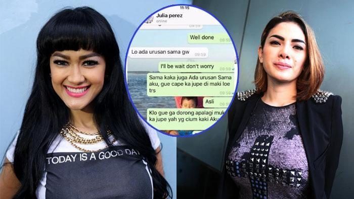 Saling Tantang! Ini Percakapan WhatsApp Julia Perez dan Nikita Mirzani