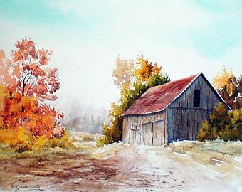 "Giclee, fine art print, 8"" x 10"", Walter Czuma, fall scene, landscape, barn, red leaves, country scene, October"