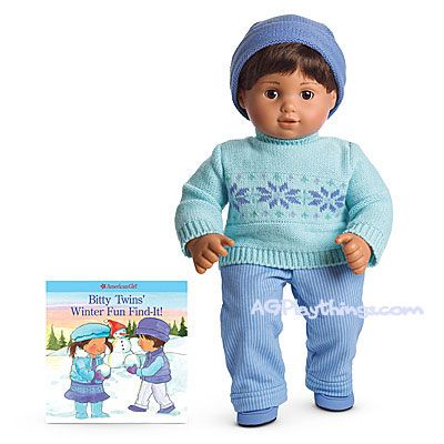 Fair Isle Sweater Set for Dolls + Book  Item# F8566  When it's time for snowy fun, your girl can dress her Bitty Twin in this outfit:  A crewneck sweater with a Fair Isle pattern  Knit pin-striped pants with stitched cuffs  A knit hat with a turned-up brim  A pair of faux-suede shoes to match  The Bitty Twins' Winter Fun Find-It! activity book  $26