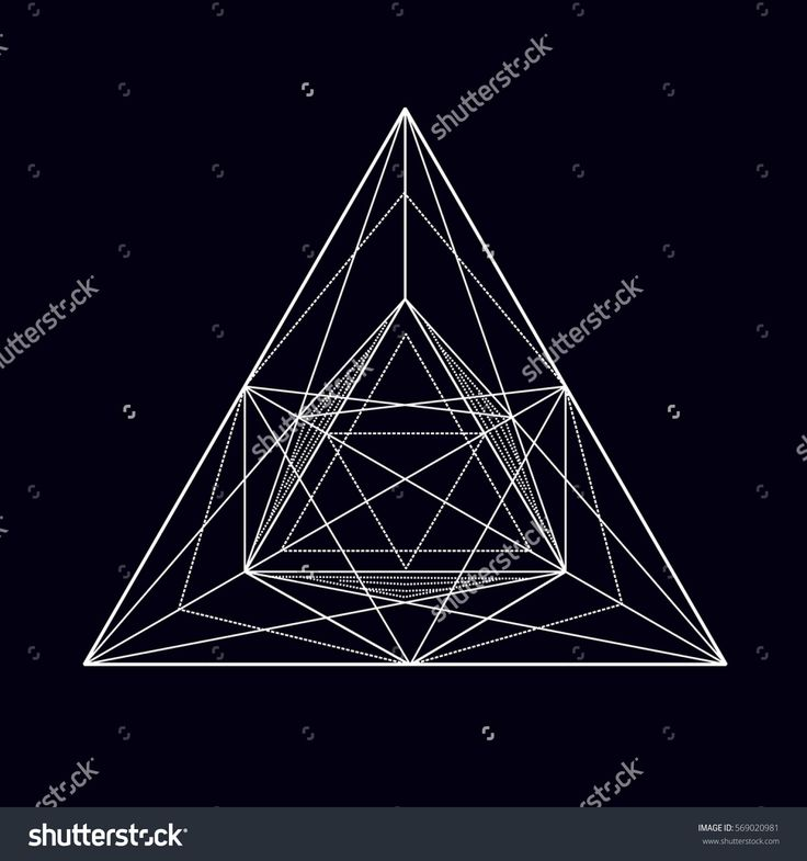 Black and white vector sketch of a tattoo fire triangle, square, polygon with white spider webs and mesh. Vector image on white background.