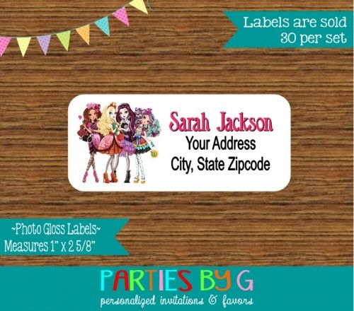 Moster High Return Address Gloss Labels Personalized Custom