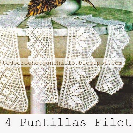 4 puntillas con patrones en crochet filet