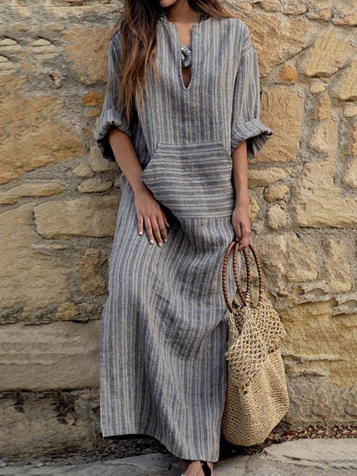 Popjulia Artı boyutu Kadınlar Elbise Shift Gündüz Elbise Keten Çizgili Elbi…