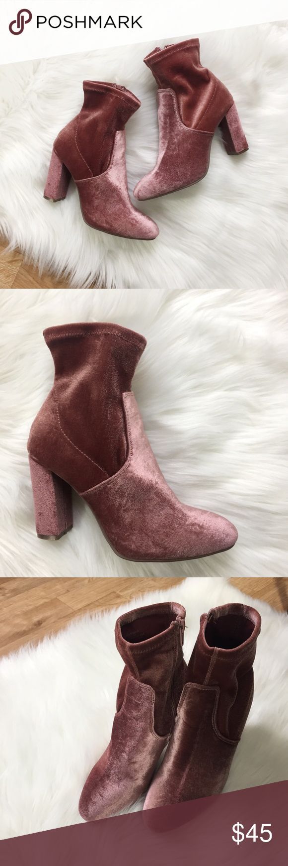Madden Girl Pink Suede Ankle Boots Madden Girl Pink Suede Ankle Boots. Great condition!   Small dark mark on the inside of the right shoe. (See picture)   Size 5.5. I'm a 6 & they fit me!   Happy to answer any questions!  Thanks for looking!   OFFERS are welcome!  ** 10% off Bundles of 3+ ** Ships within 24 hours!  Smoke free home. No trades or Paypal. Madden Girl Shoes Heeled Boots