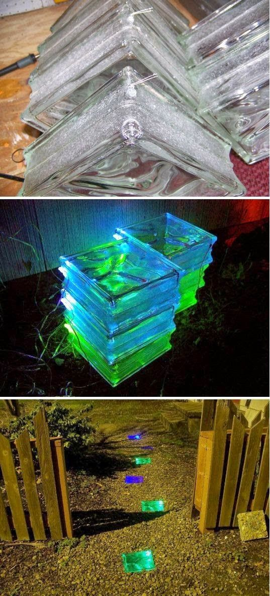 DIY Glowing Solar Walkway. Cute, but I'm thinking solar fairy string lights inside, then seal up with hot glue or sealant.