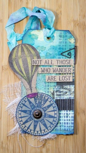 Tag by Robyn Wood using Darkroom Door Mesh stencil and stamps.