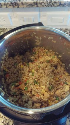 Instant Pot - Chicken 'Fried' Rice: Cut chicken into pieces (1.5lb and seasoned with salt and pepper) brown on saute in soy sauce and evoo, Add 2 eggs and scramble, add 1.5 cups frozen mixed veggies, 2 cups rice, 2 cups chicken broth and cook on rice function, 8 min natural release.