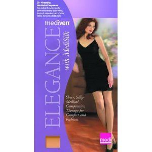 Mediven Elegance 20-30mmHg Knee High Women's Stockings - CLOSEOUT Size: Size III (3) Standard, Color: Beige (0) by Mediven. $10.00. Mediven Elegance prescription stockings combine precise graduated compression, our most advanced features, and an air-permeable knit made by combining MediSilk and the latest hybrid microfiber. Fitted toe and heel complement any shoe style and the reinforced sole provides long-lasting wear. This stocking provides 20-30mmHg of gradi...