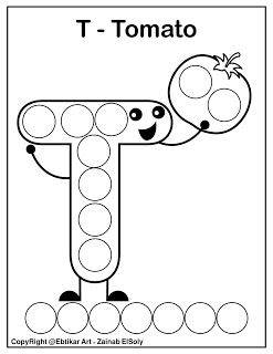 Set of ABC dot Marker Coloring Pages Letter T for tomato ...