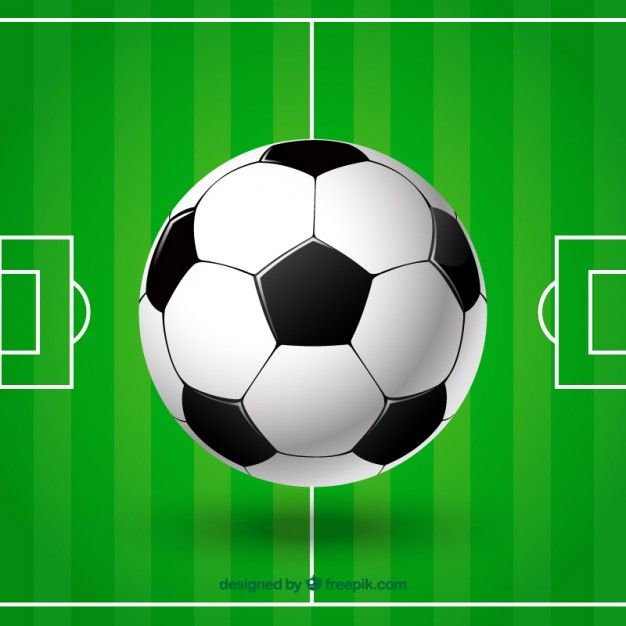 Balón y campo de fútbol Vector Gratis