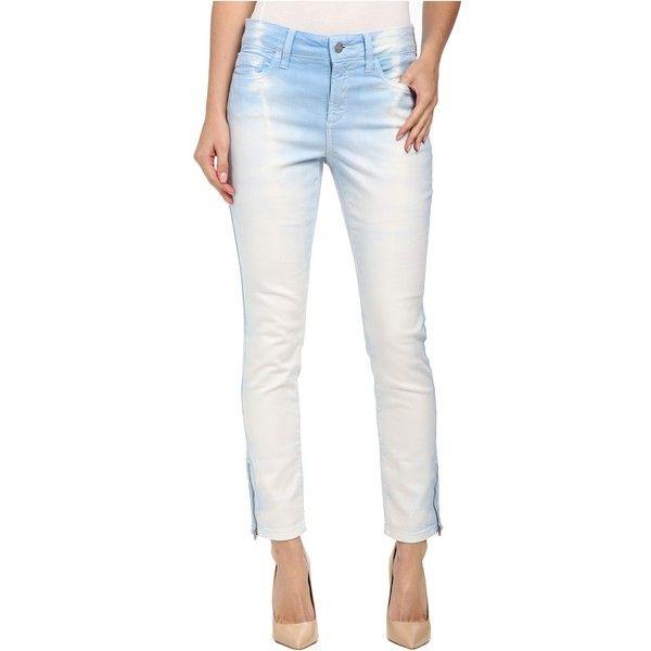 NYDJ Kimora Skinny Ankle - Stripe Tye Dye Women's Jeans, Blue ($50) ❤ liked on Polyvore featuring jeans, blue, denim skinny jeans, white cropped jeans, white super skinny jeans, skinny jeans and cropped jeans