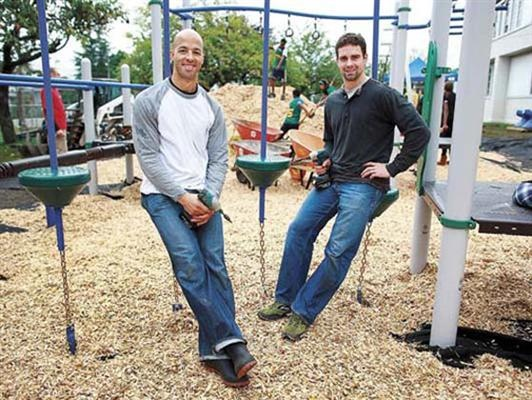 Manny Malhotra and Dan Hamhuis of the Vancouver Canucks built/funded a playground for a local school. <3  October 2011.