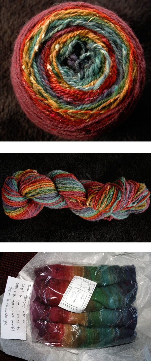 Muted rainbow Moon Batts to yarn! From KatyPi. Parcel from Sourkraut.