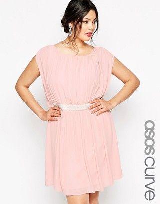 ASOS Curve ASOS CURVE Mini Dress with Embellished Waist - Shop for women's Dress - Navy