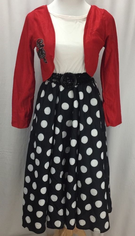 50s Costume Adult Poodle Felt Skirt Black White Polka Dot Sock Hop Costume S/M  | eBay