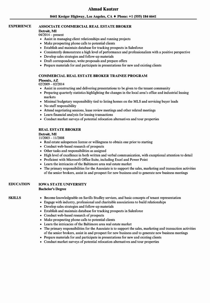 23 Real Estate Agent Resume Description in 2020 Resume