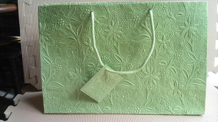 Lime Floral Large Embossed Bag