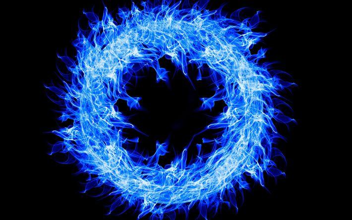 Download wallpapers fire ring, 4k, darkness, blue fire, art, fire flames