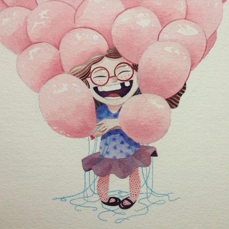 Картинки девочка с шарами рисунок