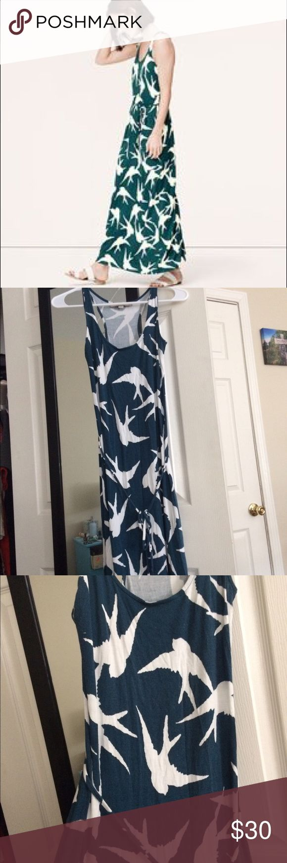 LOFT Swallow Bird Patterned Maxi Dress - Petite You will want to LIVE in this jersey maxi dress--so effortlessly chic and comfy.  Real with white bird pattern, the dress includes a removable tie at the waist.  EUC, only worn a couple of times.  All offers considered! LOFT Dresses Maxi