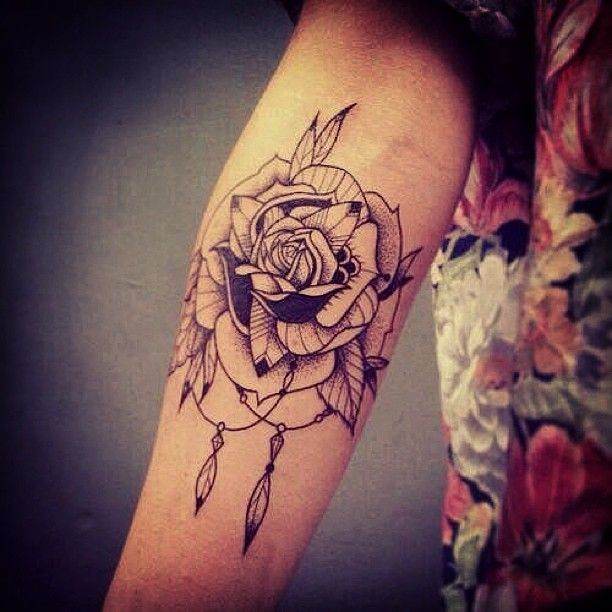 Cool Rose Tattoo Design for Women's Arm - Flower Tattoos ...