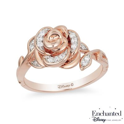 Enchanted Disney Belle 1/10 CT. T.W. Diamond Rose Ring in 10K Rose Gold - View All Rings - Zales