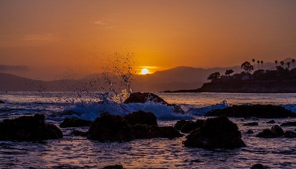 Praia, Pôr Do Sol, Areia, Oceano