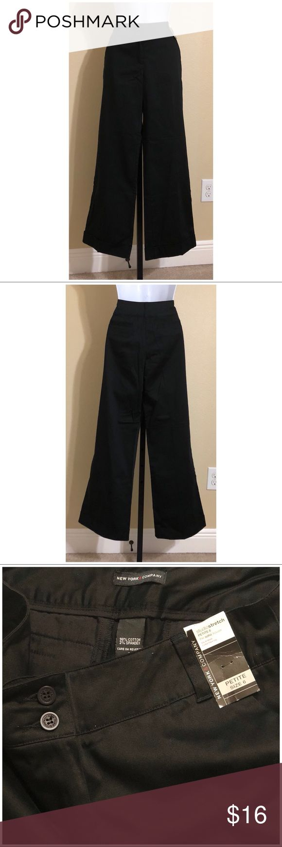 """New York & Co Petite Trousers Size 6P New York & company Petite Women's 'Soho Trouser"""" Pants Size 6P Black Color Front Zip 2 External Vertically Stacked Button Closure 2 Front Pockets 2 Faux Rear Pockets Belt Loops Stretch Cuffed Flare Leg Sits At The Waist Machine Washable 98% Cotton 2% Spandex Inseam Approx. 28 Inches Rise Approx. 10 Inches Waist Approx. 28 Inches Hips Approx. 38 Inches Cuff Approx. 21 Inches Please Measure To Ensure A Proper Fit New With Tag New York & Company Pants…"""