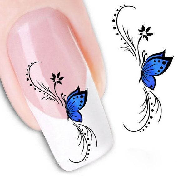 Nail Stickers  Blue Butterfly 3D Design Nail Art by EuStore