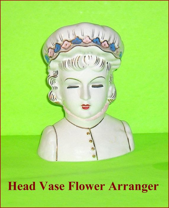 Large and Lovely Head Vase Pretty Lady Flower by EttasEmporium