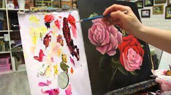 """Картина маслом"" (0037) - Ветка розы - YouTube"