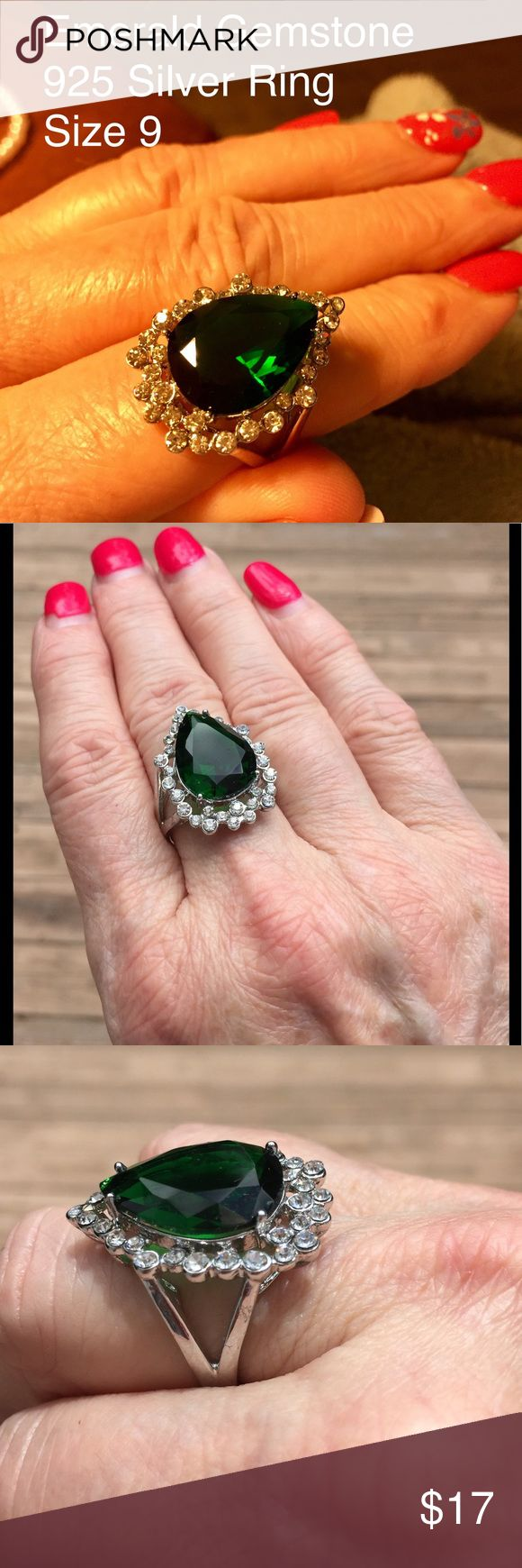 BIG Emerald Green, Pear-Shaped Fashion Ring, 9 This is a truly gorgeous fashion ring in 925 silver.  The emerald gemstone is surrounded by clear stones.  See for yourself with all the pics. It's priced to sell.  Description is as per the purchase documentation. eBay Jewelry Rings