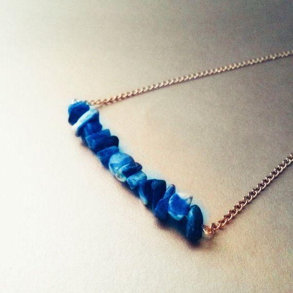 Lapis lazuli chip bar necklace simple elegant chic crystal healing blue silver boho bohemian metaphysical