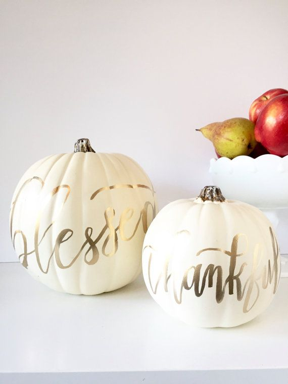 blessed & thankful calligraphy pumpkins