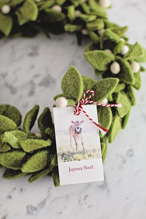 Felt Wreath / French Farmhouse Christmas Gift Tags