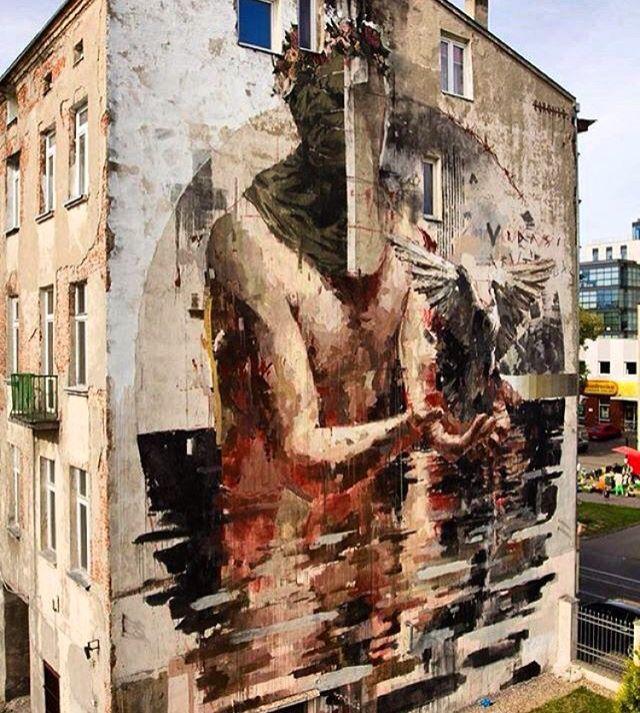 New mural by Borondo (Spain) for Łódź Murals Łódź, Poland - Oct 2015