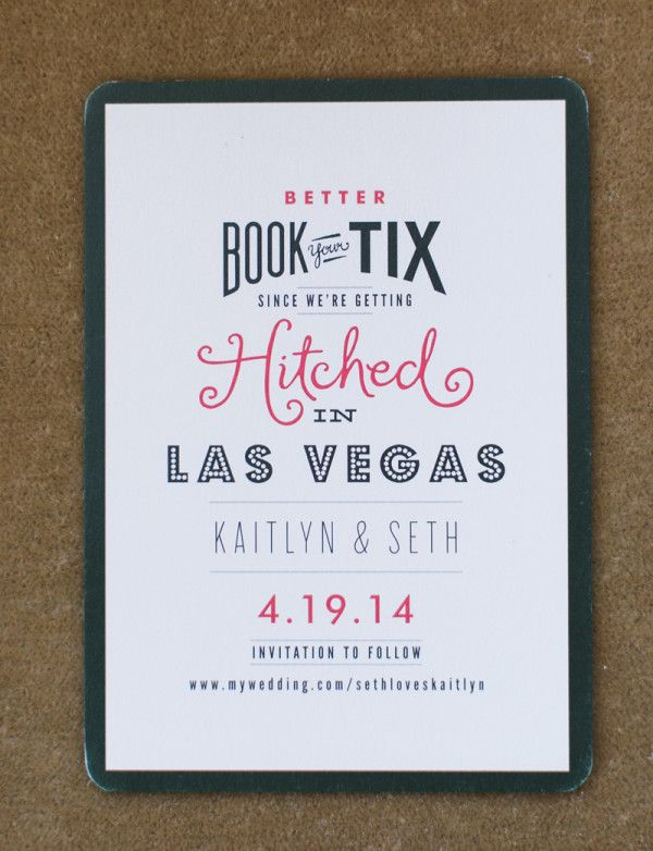 Mixed typeface wedding save the date | Vintage Glam Wedding at Mandarin Oriental Las Vegas | Photo: @megruth - invitation: Minted