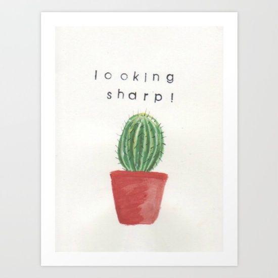 sharp, looking sharp, cactus, cactus painting, cactus pun, punny