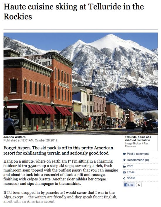 Read about Telluride restaurants in The Times Travel