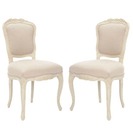 Set Of Two Side Chairs With Carved Detail And Cabriole Legs Product 2 ChairsConstruction Material Wood FabricColor Linen Ecru