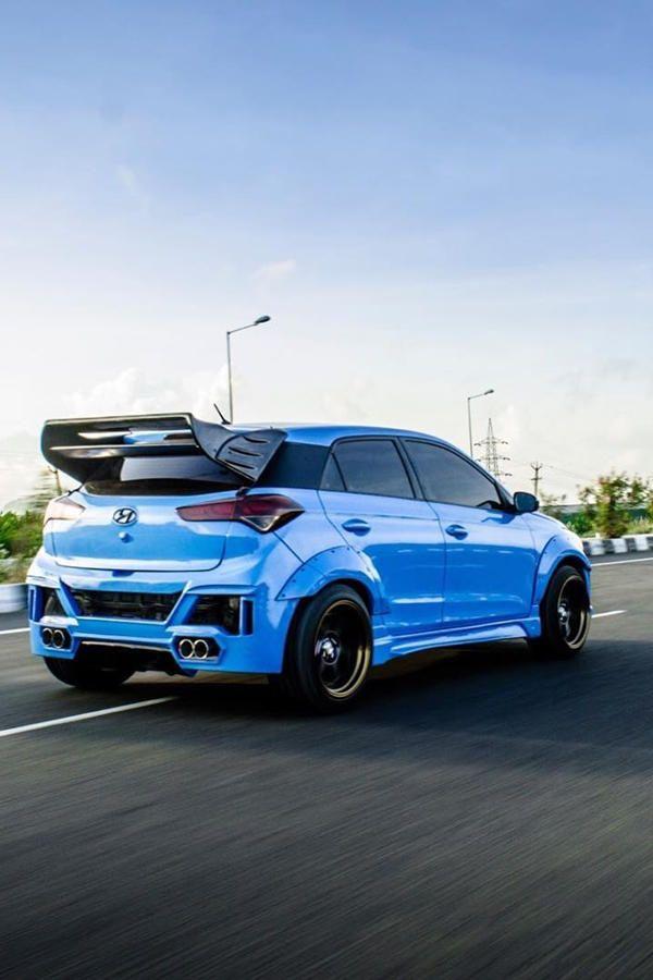 Modified Blue Hyundai I20 Wide Body Futuristic Cars