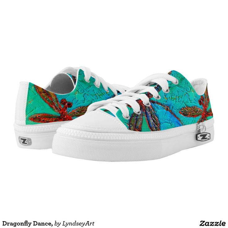 Dragonfly Dance Sneakers! Gorgeous red and blue dragonflies on a mottled turquoise green and blue background. From my original dragonfly artworks. LyndseyArt