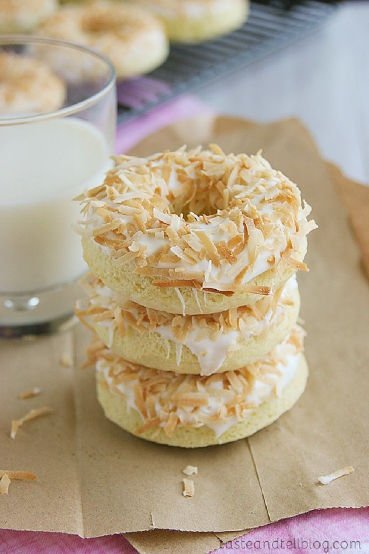 20. Baked Coconut Donuts #healthy #doughnuts #recipes http://greatist.com/health/healthier-donut-recipes?utm_source=pinterest&utm_medium=social&utm_campaign=onsiteshare As if you needed another reason to eat cake for breakfast.