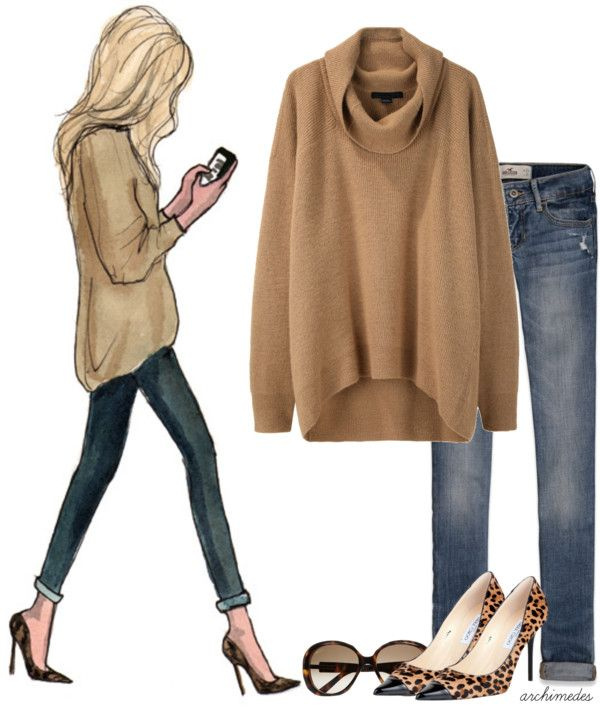 Big sweater, rolled up jeans and heels.