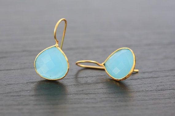 Sale > Chalcedony Aqua Earring, heart shape earrings, Vermeil gold platted earrings, Chalcedony Earrings, Chalcedony bezel earring