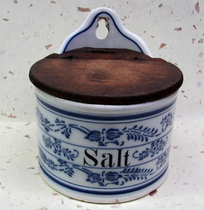 Large Antique Stoneware/pottery Salt Box with wooden hinged lid. This salt box ...
