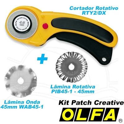 Kit Patch Creative Olfa: Cortador Rotativo + 2 Lâminas