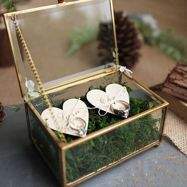 Creative Interior Moss Golden Glass Wedding Ring Box