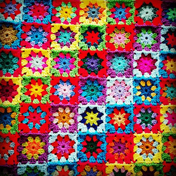 RAINBOW Kaleidoscope Blanket Granny Squares Afghan by Thesunroomuk