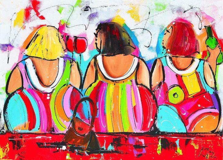 Dit is een: Acrylverf op doek, titel: '3 dikke vriendinnen' kunstwerk vervaardigd door: Liz